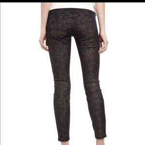 3/$35 Current Elliot Gold Foil Skinny Crop Jeans